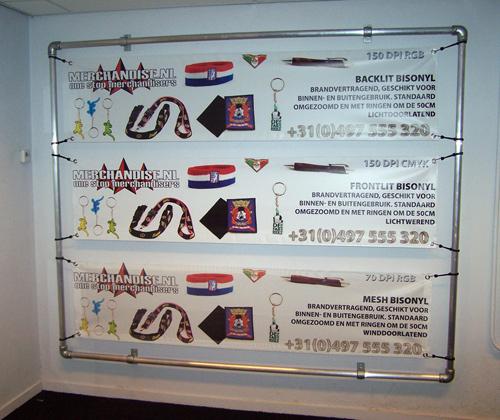 spandoekframe showroom Merchandise.nl
