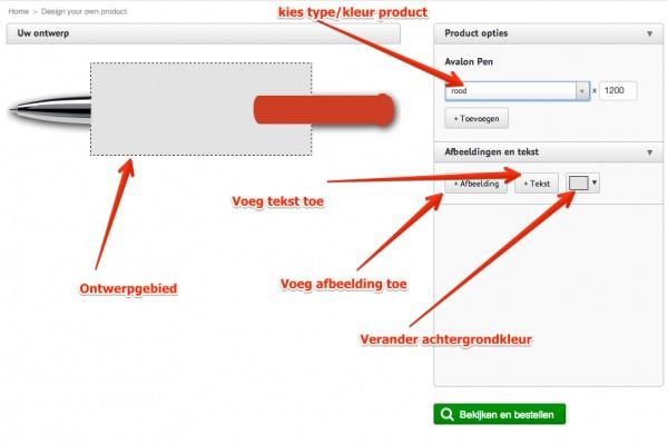 online ontwerpmodule voor pennen