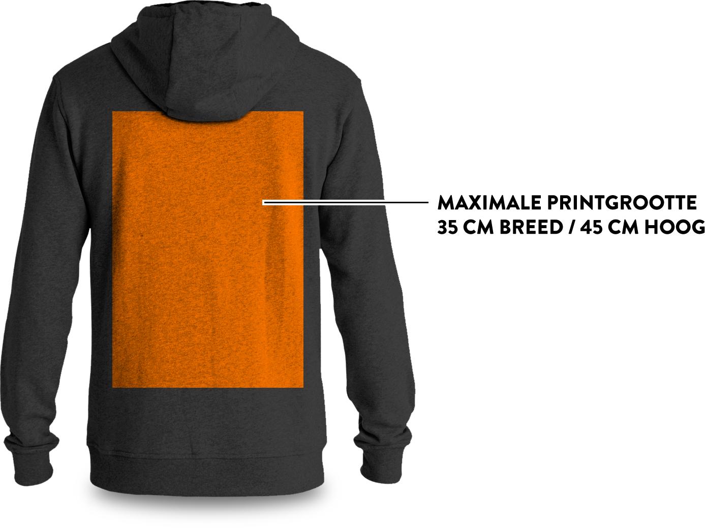 Maximale afmetingen print op achterkant sweater