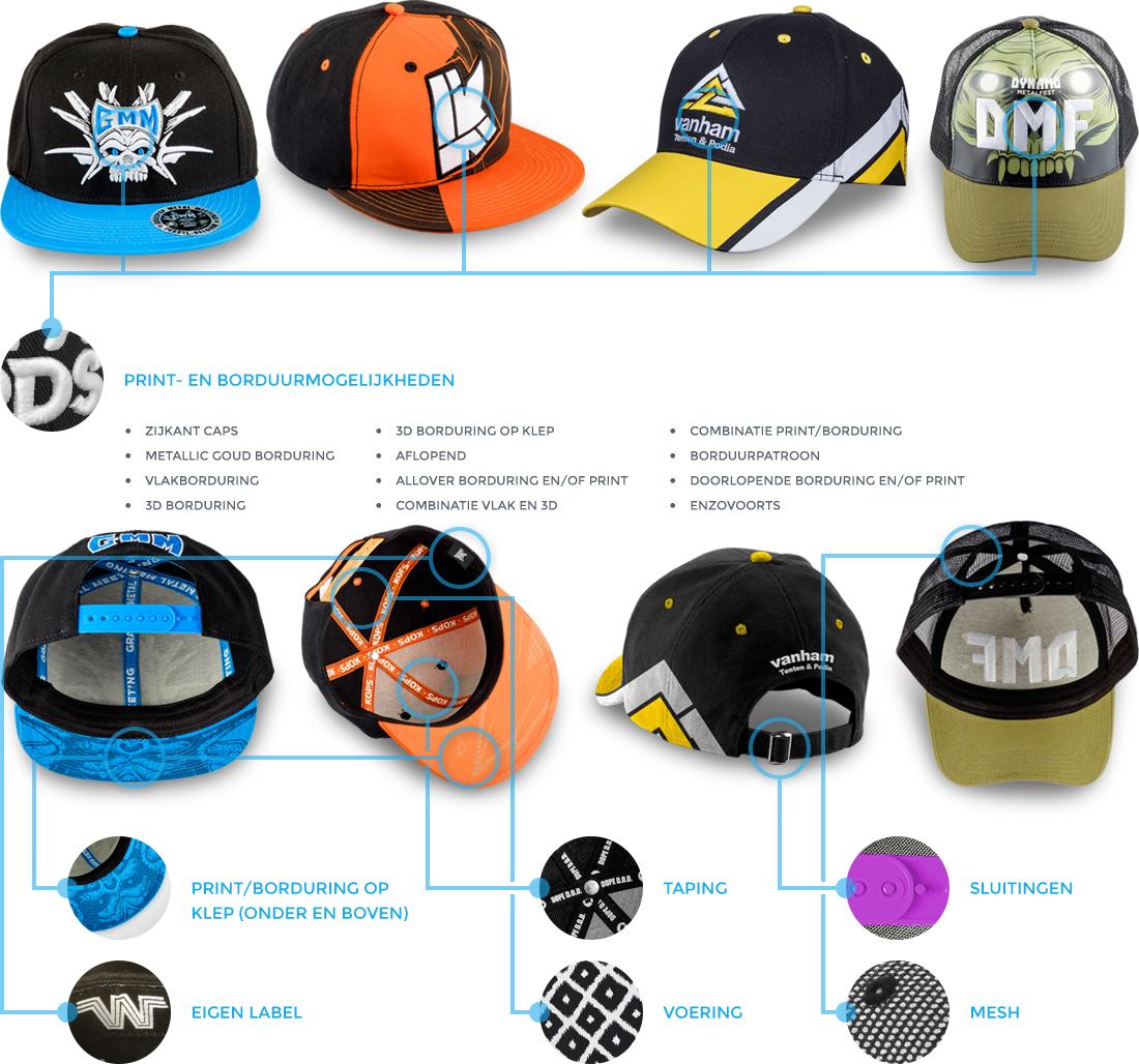 Mogelijkheden custom made caps