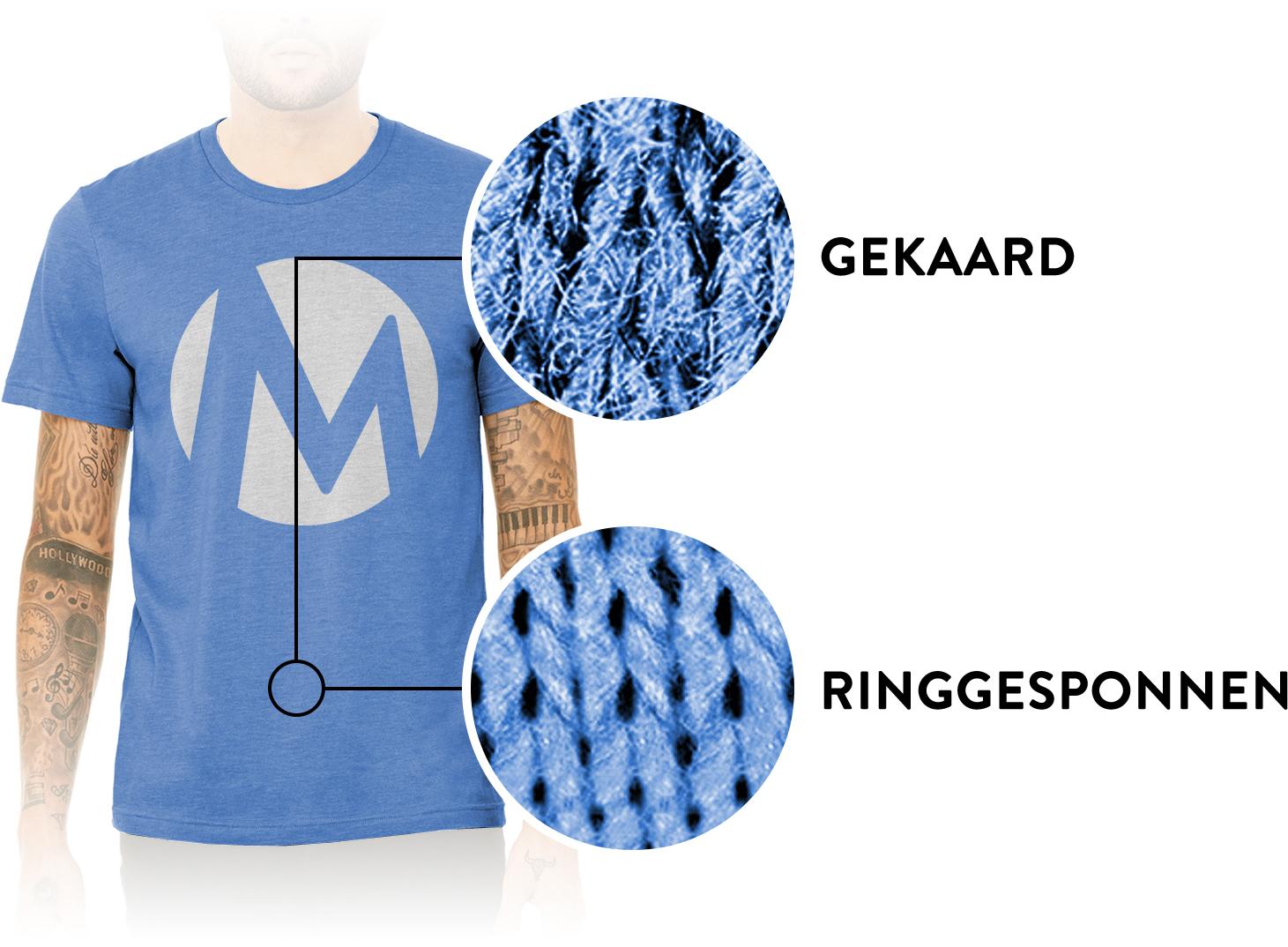 T-shirt van ringgesponnen en gekaard katoen