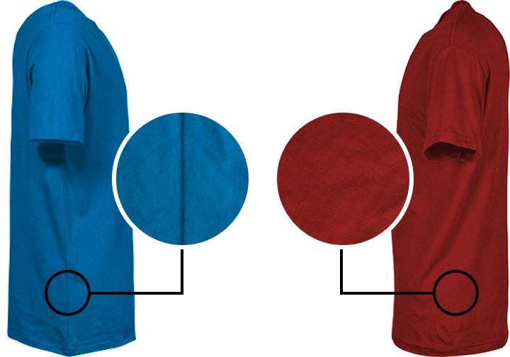 T-shirt met en zonder zijnaad