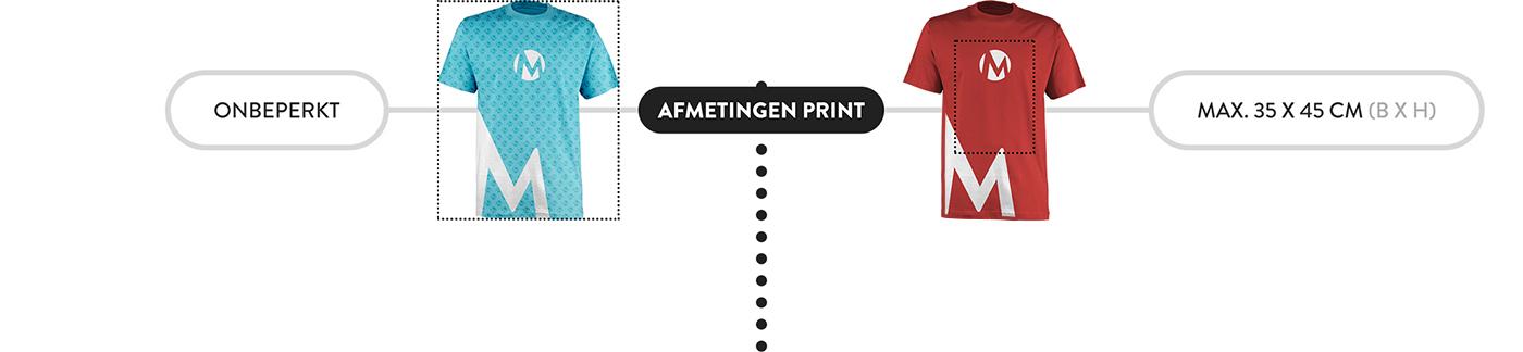 Afmetingen van een bedrukking op een t-shirt