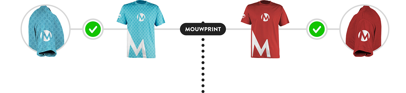 Mouwprints op een t-shirt