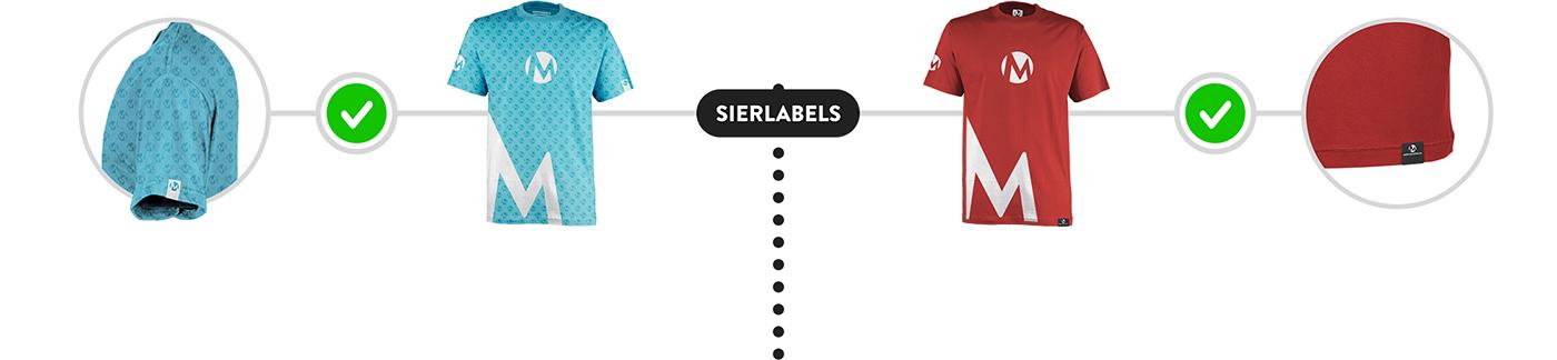 Sierlabels op een t-shirt