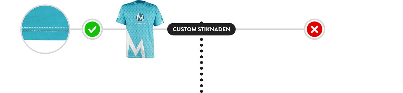 Mogelijkheden stiknaden op een t-shirt